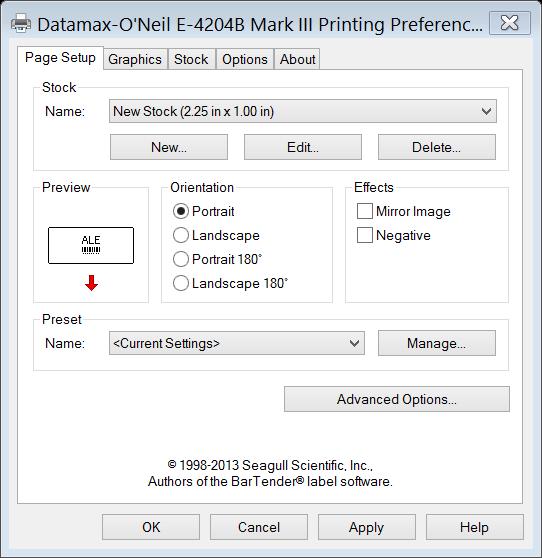 2 3  Adjusting Label Settings for Datamax-O'Neil E4204B Mark III